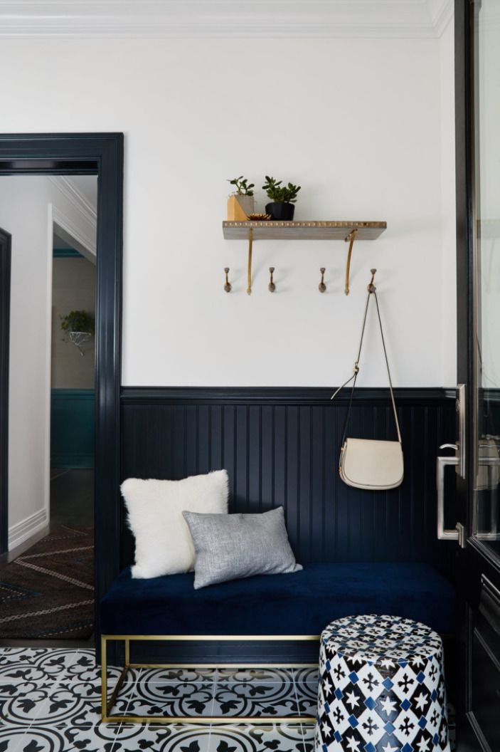 If our entryway was decorated in moroccan floortile and blue wainscoting were pretty · apartment therapyapartment ideasfoyer