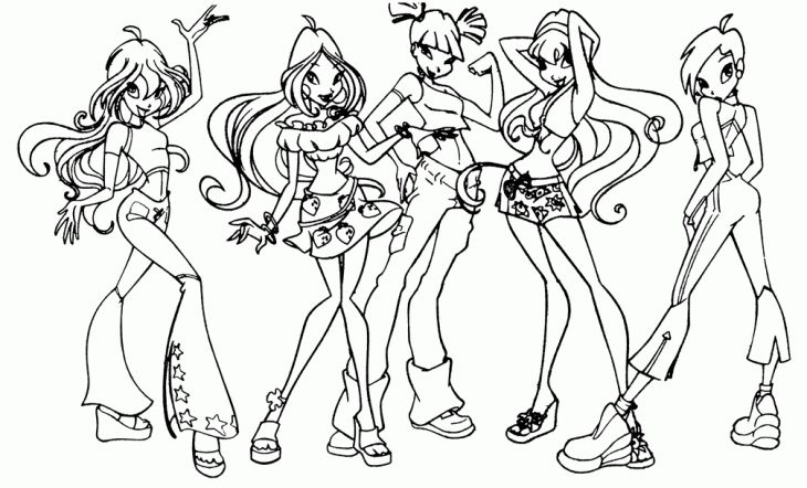 Winx Club Coloring Sheet Free For Girls