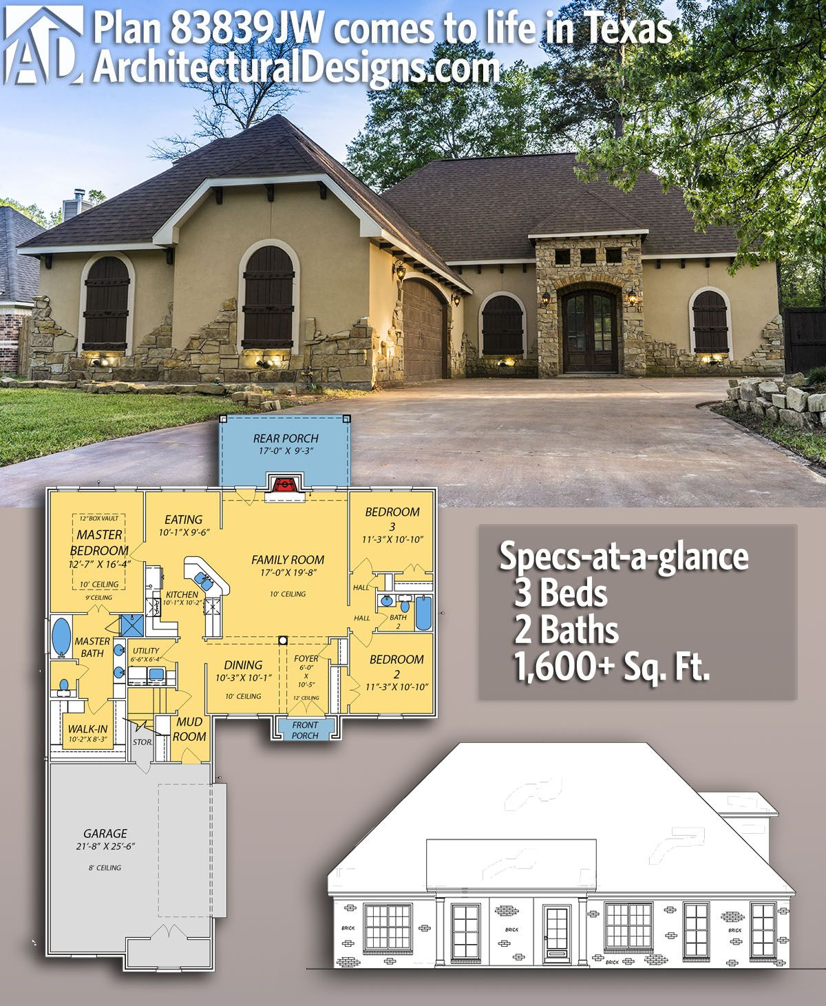 Plan 83839jw European House Plan With Courtyard Garage Courtyard House Plans Architectural Design House Plans European House