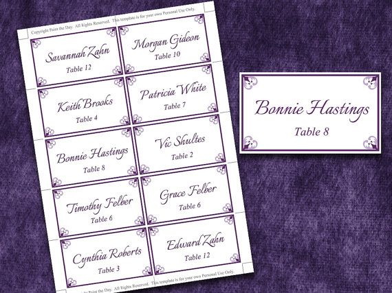 Wedding Place Cards Microsoft Word Template  Antique Chic