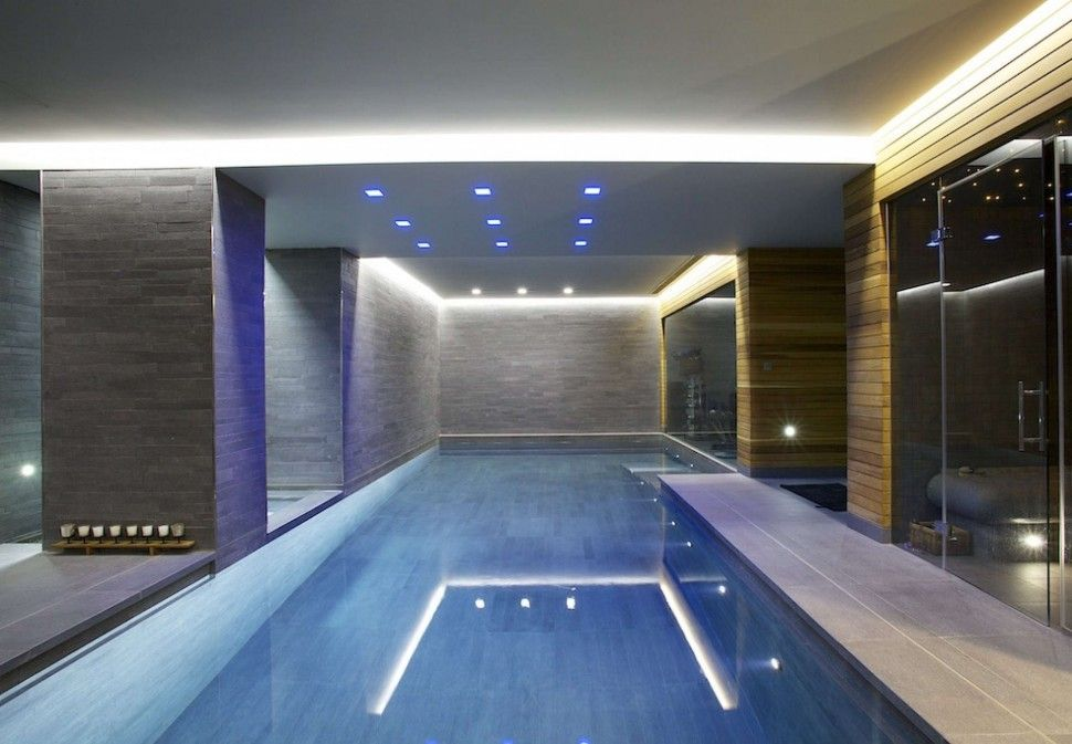 InteriorElegant Modern Indoor Swimming Pool Decor With Amazing Led Ceiling Lighting And Grey Wall