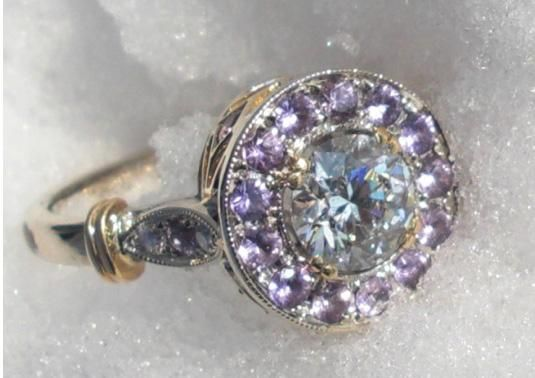 Infinity Diamond in Purple Sapphire Halo