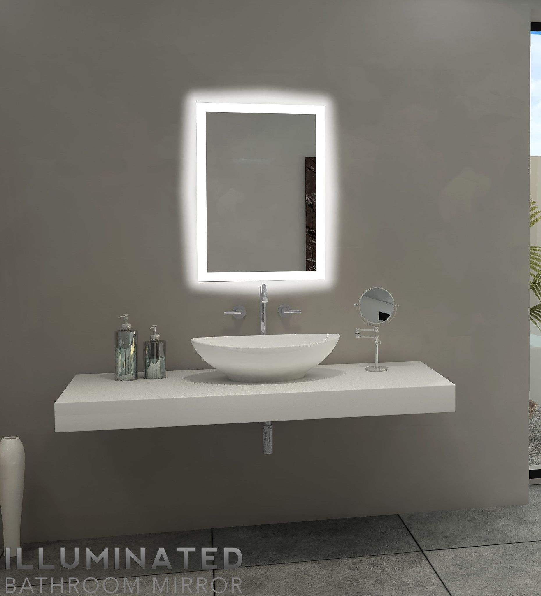Dimmable backlit mirror rectangle 20 x 28 backlit bathroom dimmable backlit mirror rectangle 20 x 28 xflitez Images