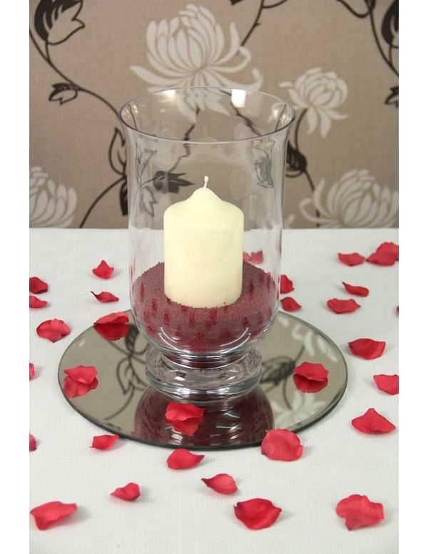 Hurricane Wedding Centerpiece Ideas Hurricane Vase Red Display
