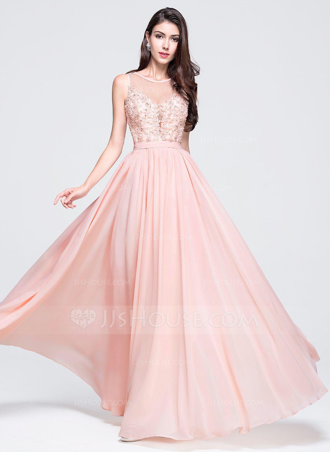 Corte A/Princesa Escote redondo Hasta el suelo Gasa Vestido de baile ...