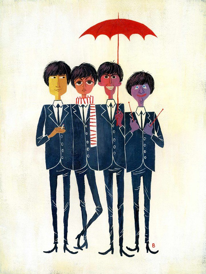 It's the Fab Four! Art by Brigette Barrager.