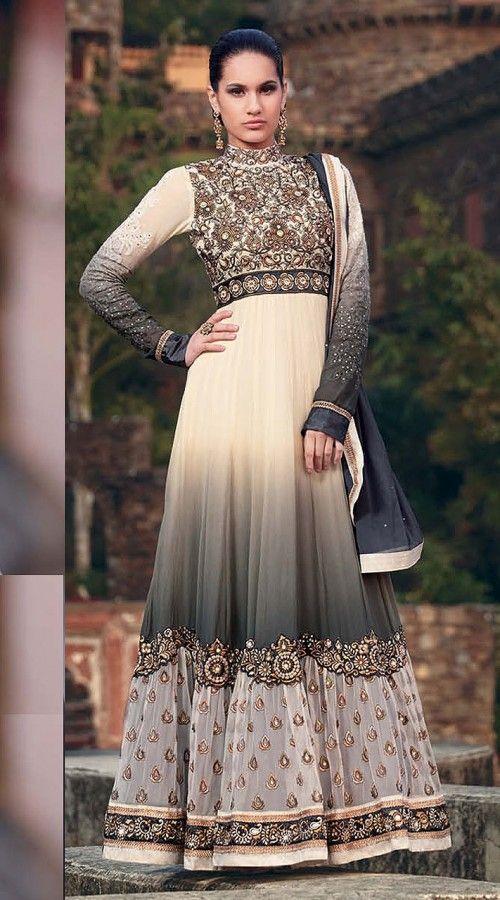 Cream And Dark Grey Georgette Floor Length Anarkali Suit SJ50715