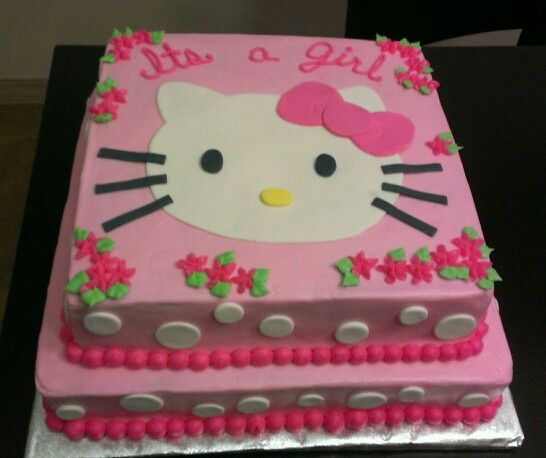 Hello Kitty Baby Shower Cake, Fondant Accents Hand Made