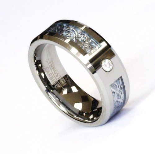 8Mm Silver Celtic Dragon Cz Blue Tungsten Carbide Ring Men Jewelry Wedding Band Wedding Band