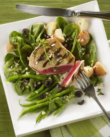 Grilled tuna nicoise salad recipe this is a great dish for lunch or diabetic grilled tuna nicoise salad recipe from diabetic gourmet magazine plus many more recipes for a healthy diabetic diet forumfinder Choice Image