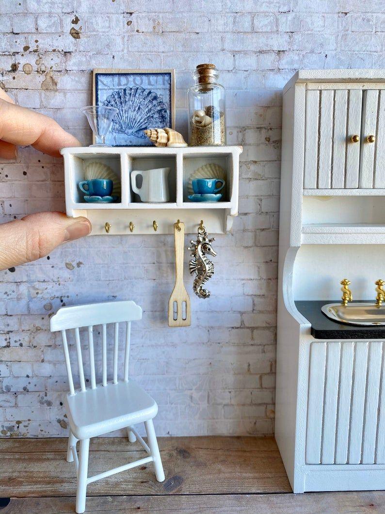 Nautical Beach miniatures, Dollhouse shelf and accessories, beach dollhouse