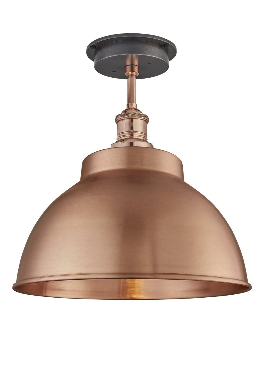Copper Brooklyn Outdoor Dome Flush Mount Light 13 Inch Industville Flush Mount Lighting Metal Ceiling Lighting Flush Lighting