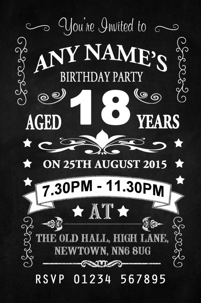 vintage chalkboard style black and white 18th birthday party, Birthday invitations