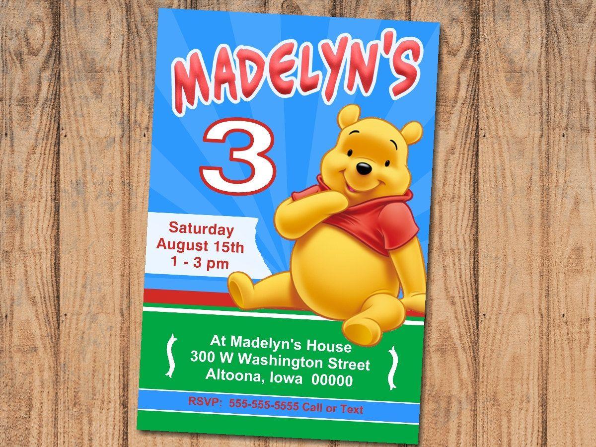 Custom Winnie the Pooh Party Invitation Print at Home Digital File ...