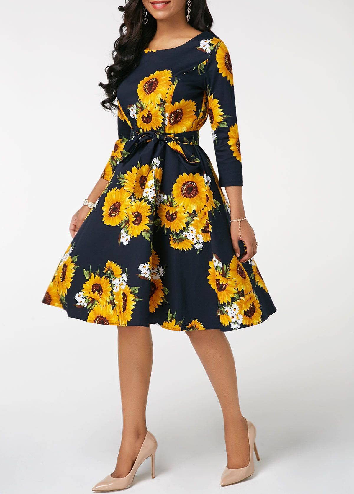 db7159abecba2 Round Neck Flower Print Belted Dress | Rotita.com - USD $30.03 ...