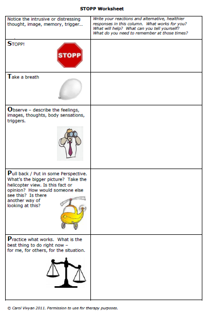 Stopp 5 Worksheet With Instructions For Bipolar Disorder Things