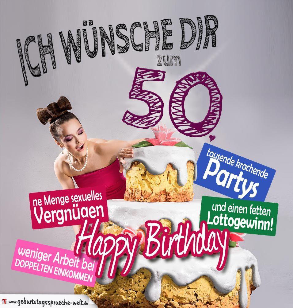 Gluckwunsche Geburtstagskarte 50 Geburtstag Mit Torte