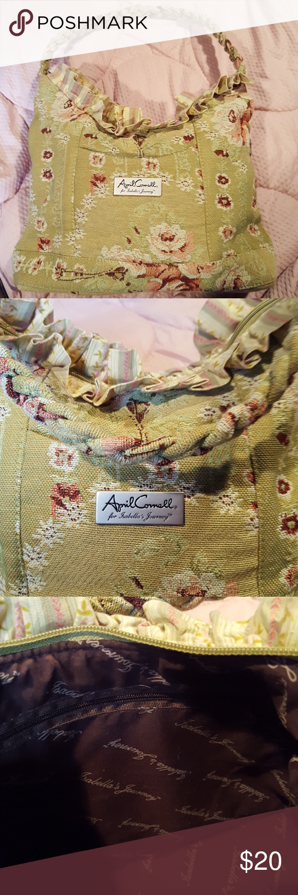 823578651f April Cornell Isabella s Journey Poetry Ruffle Bag Adorable chic floral  tapestry poetry bag by April Cornell