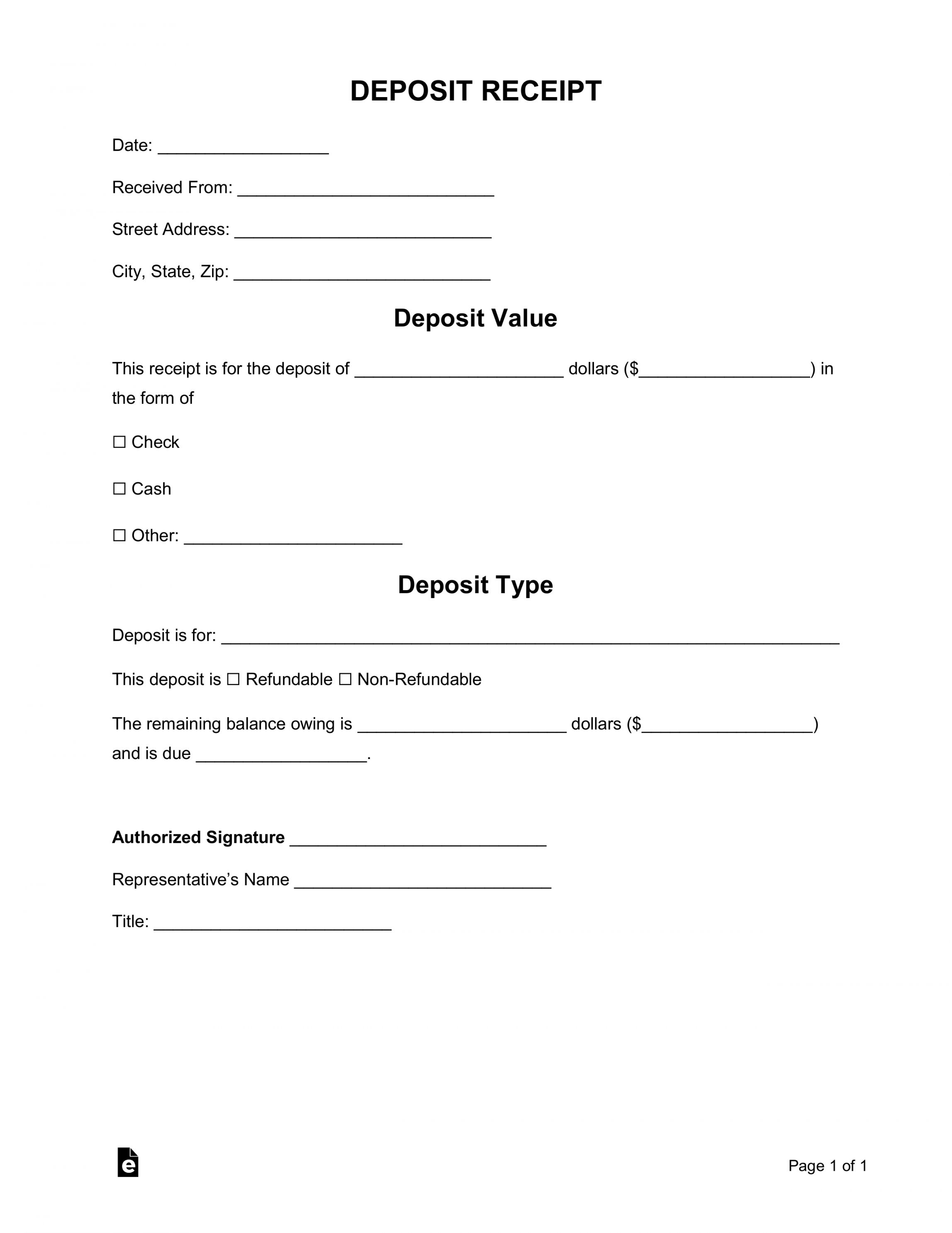 Non Refundable Deposit Form Template In 2020 Templates Deposit