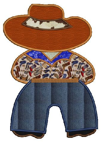 Cowboy Bill inspired machine embroidery Applique design,4 sizes,8 - bill formats