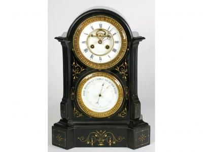 19th Century French Black Marble Combination Mantel Clock And Aneroid Barometer Black Marble Antique Barometer Antique Wall Clock