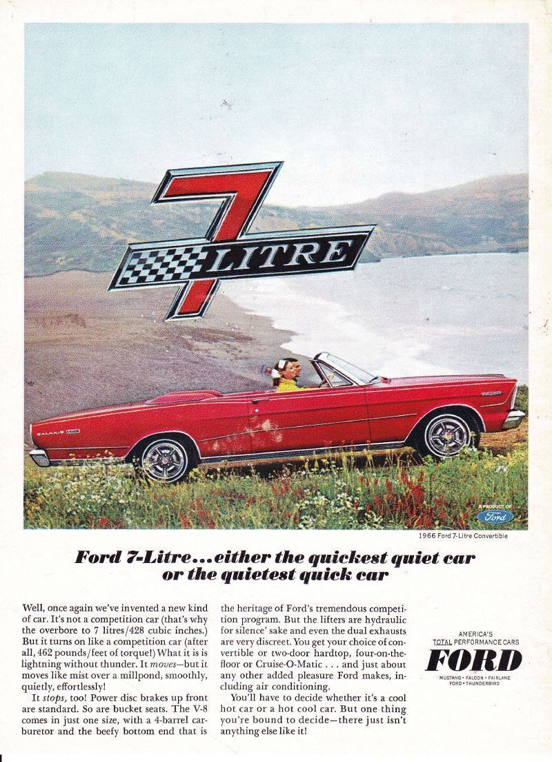 A retro advertisement for the 1966 Ford Galaxie 7 Litre