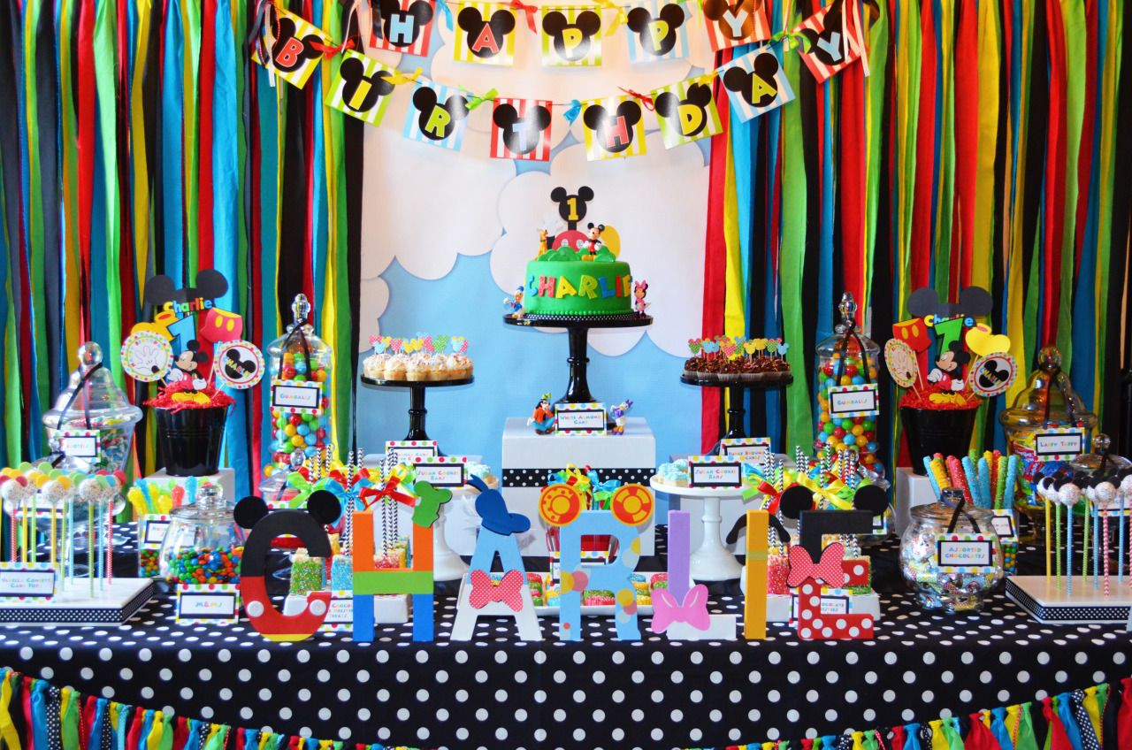 Mickey Mouse Clubhouse Themed 1st Birthday Party Dessert Candy Table Charlie Dessert Items Mickey Mouse Clubhouse Birthday Party Mickey Party Mickey Birthday