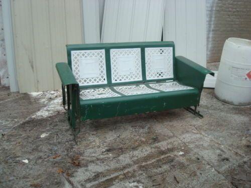 antique vintage retro metal patio porch glider 3 seater - Porch Gliders