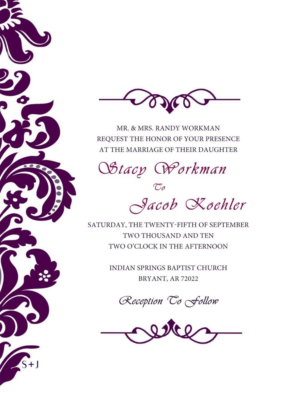 wedding invitation templates invitations wedding formal wedding – Template Invitation Card