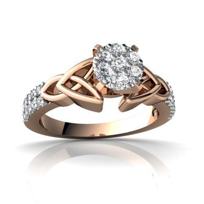 14k Rose Gold White Diamond Engagement Ring Jewels For Me. $599.00