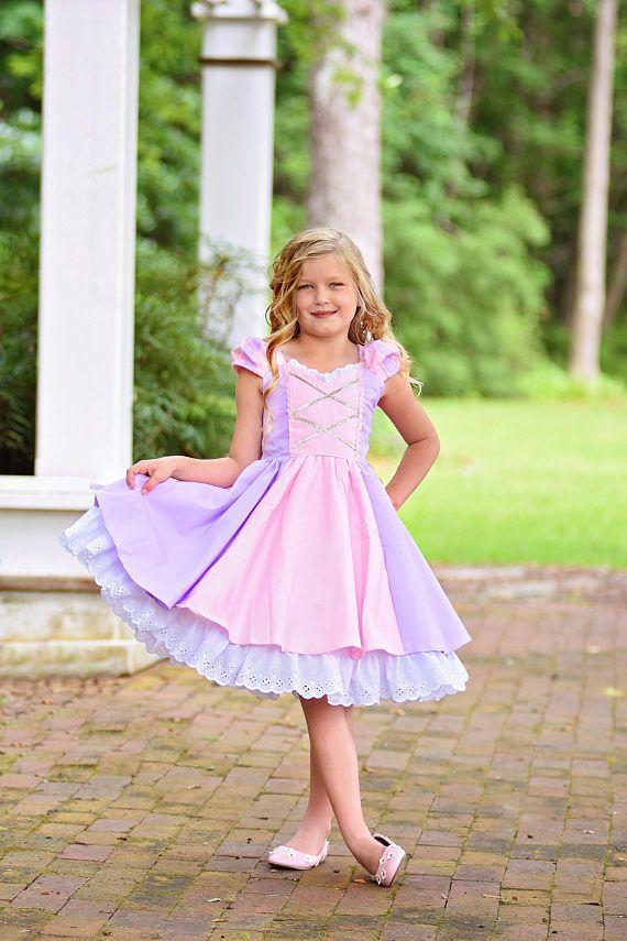 Princesa Rapunzel las niñas vestido con detalles exquisitos ...