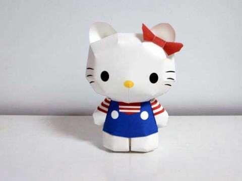 Hello Kitty Paper Craft: Free Printable Template | Kawaii