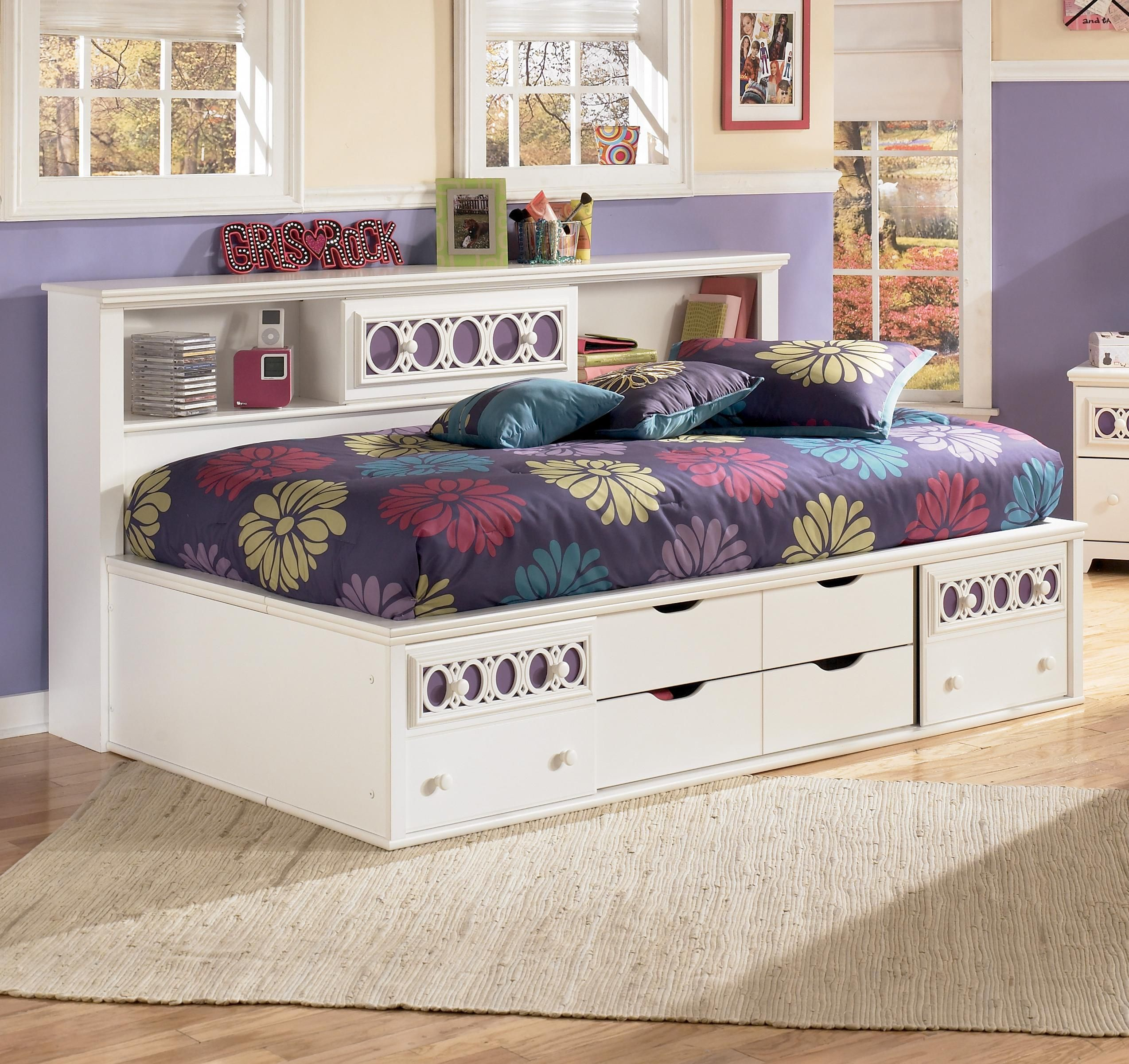 Zayley Twin Bedside Bookcase Daybed With Customizable Color Panels