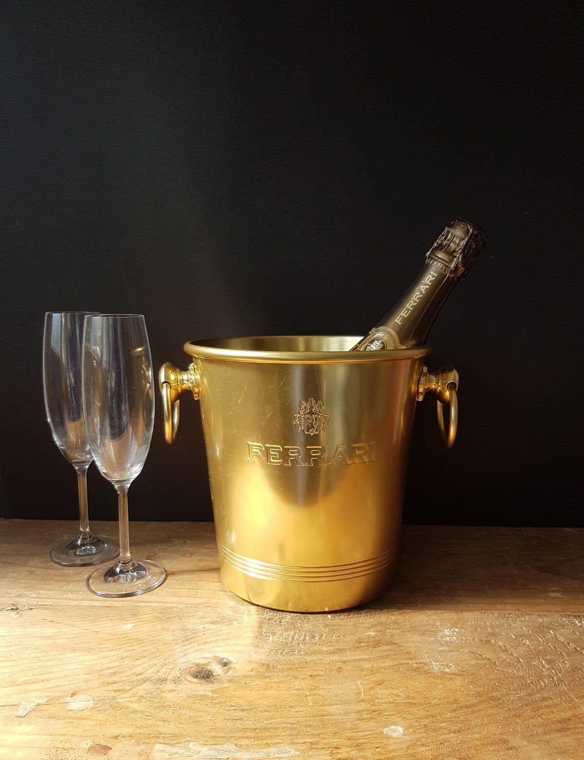 Vintage Italian Ferrari Champagne Bucket Gold Metal Champagne Bucket Ice Bucket Wine Champagne Buck Champagne Buckets Barware Accessories Wine Ice Bucket