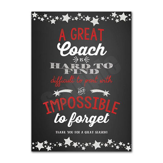 Coach Appreciation Thank You Card Printable Instant Download Tag