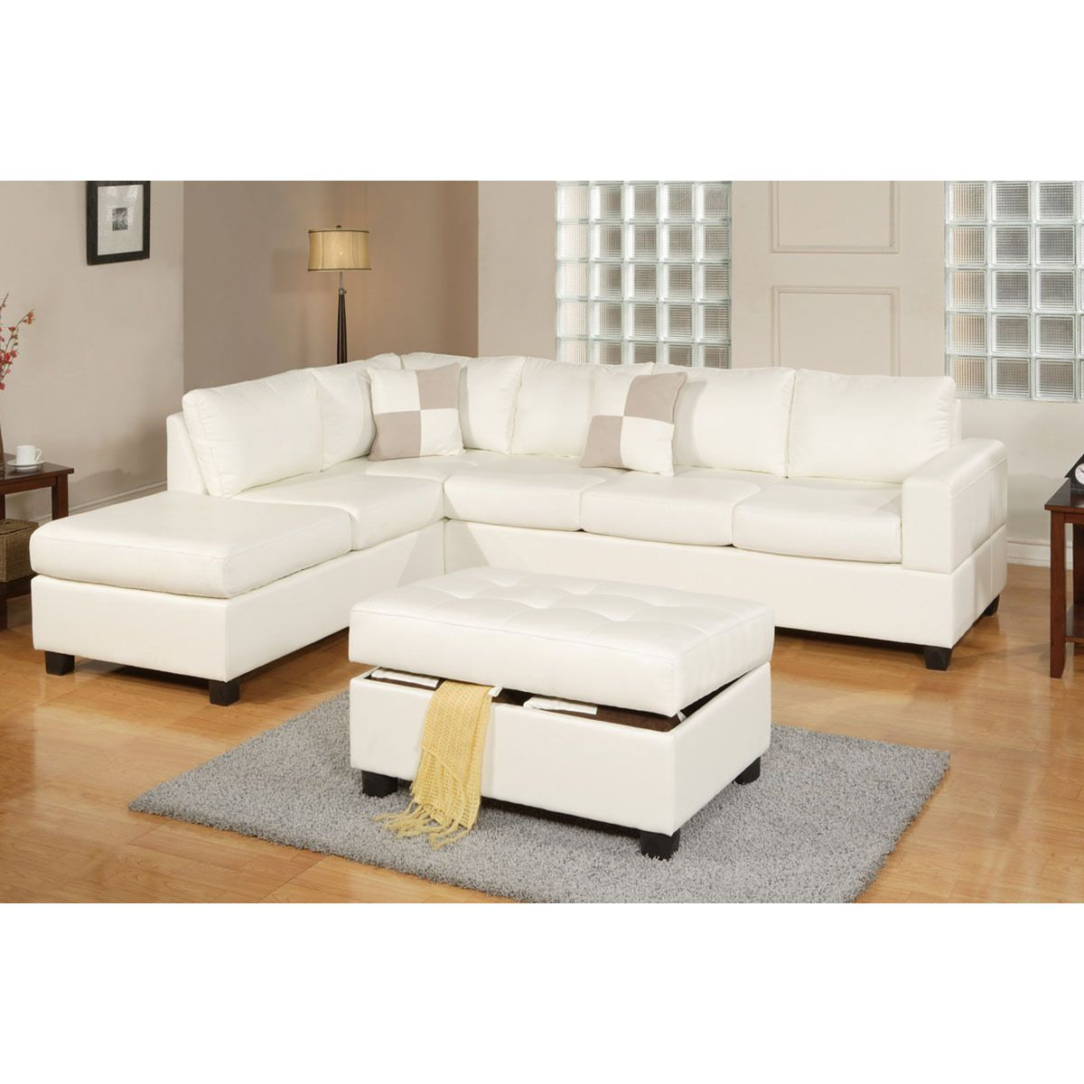 Poundex Lombardy Bonded Leather Sectional Sofa With Ottoman And