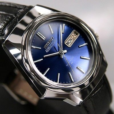 Seiko 5actus mens automatic21jewels day date blue dial japan antique used watch vintage seiko for Thermal watches