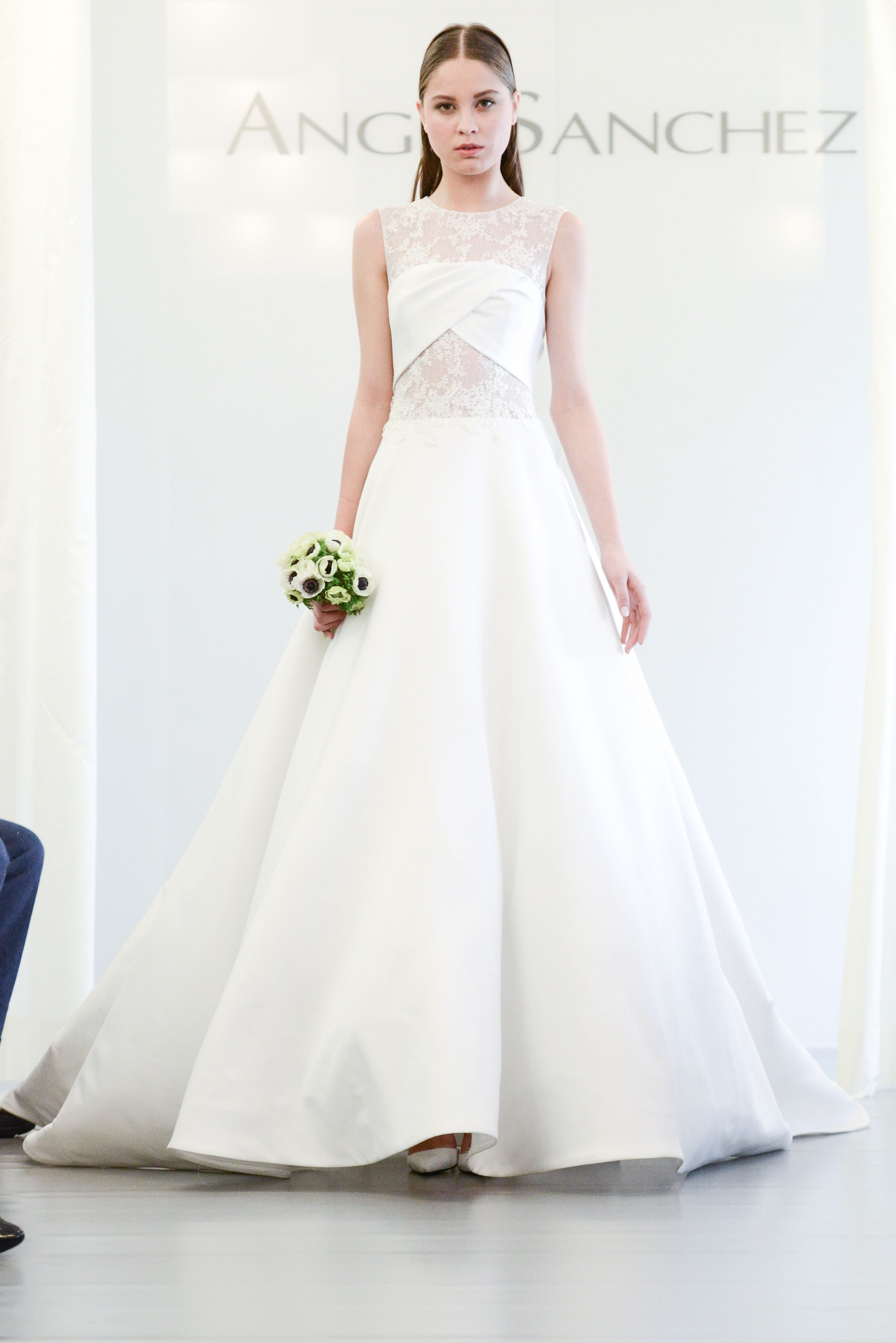 Angel Sanchez Mikado Ball Gown With Chantilly Lace Crystal And