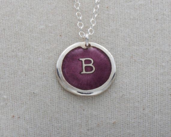"""B"" Initial Necklace Glass Enamel On Fine Silver by FusedInc on Etsy, $42.00 (23 colors) #jewelry #enamel #necklace"