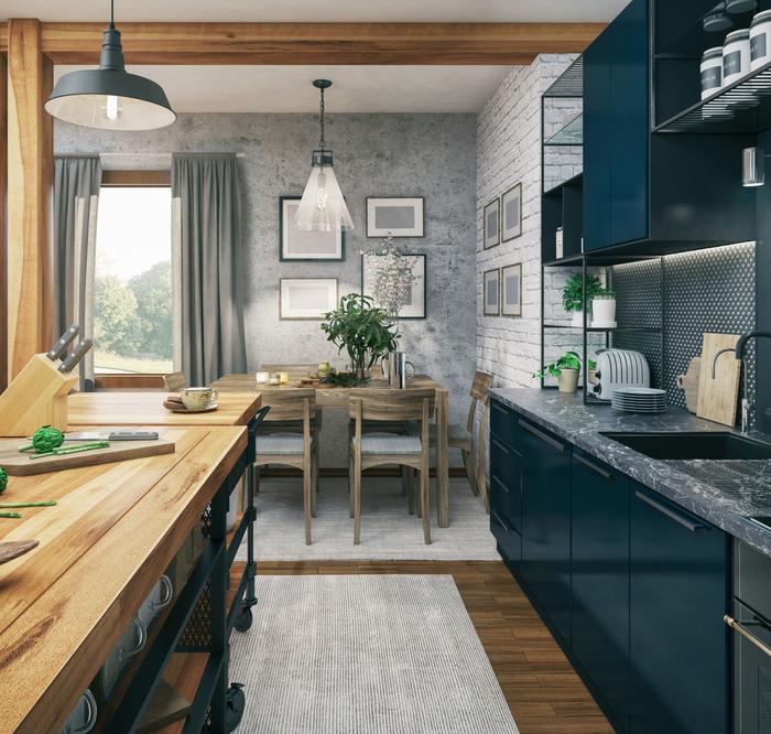 Aranzacja Kuchni Z Ciemnymi Meblami Leroy Merlin Blue Kitchen Cupboards Grey Kitchen Cupboards Grey Walls