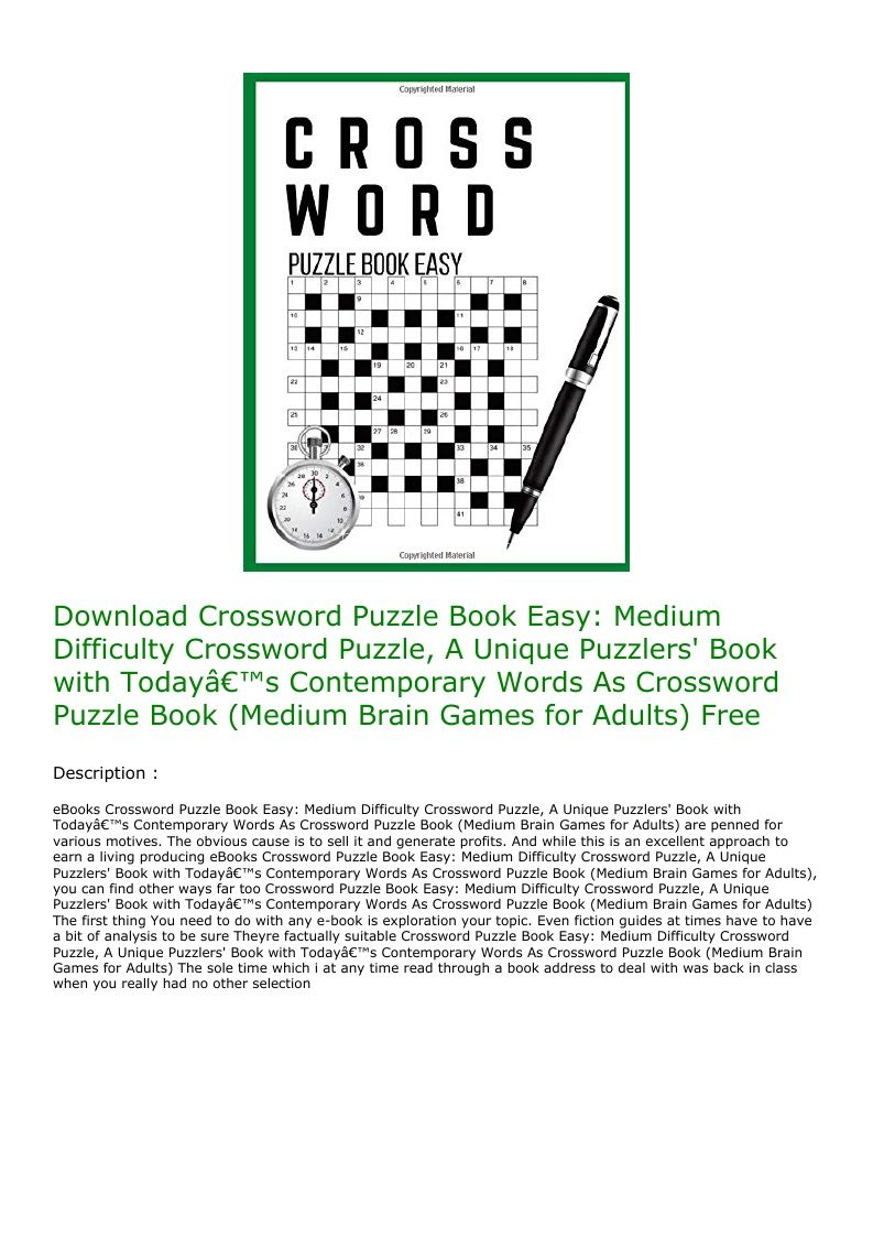 Download crossword puzzle book easy medium difficulty