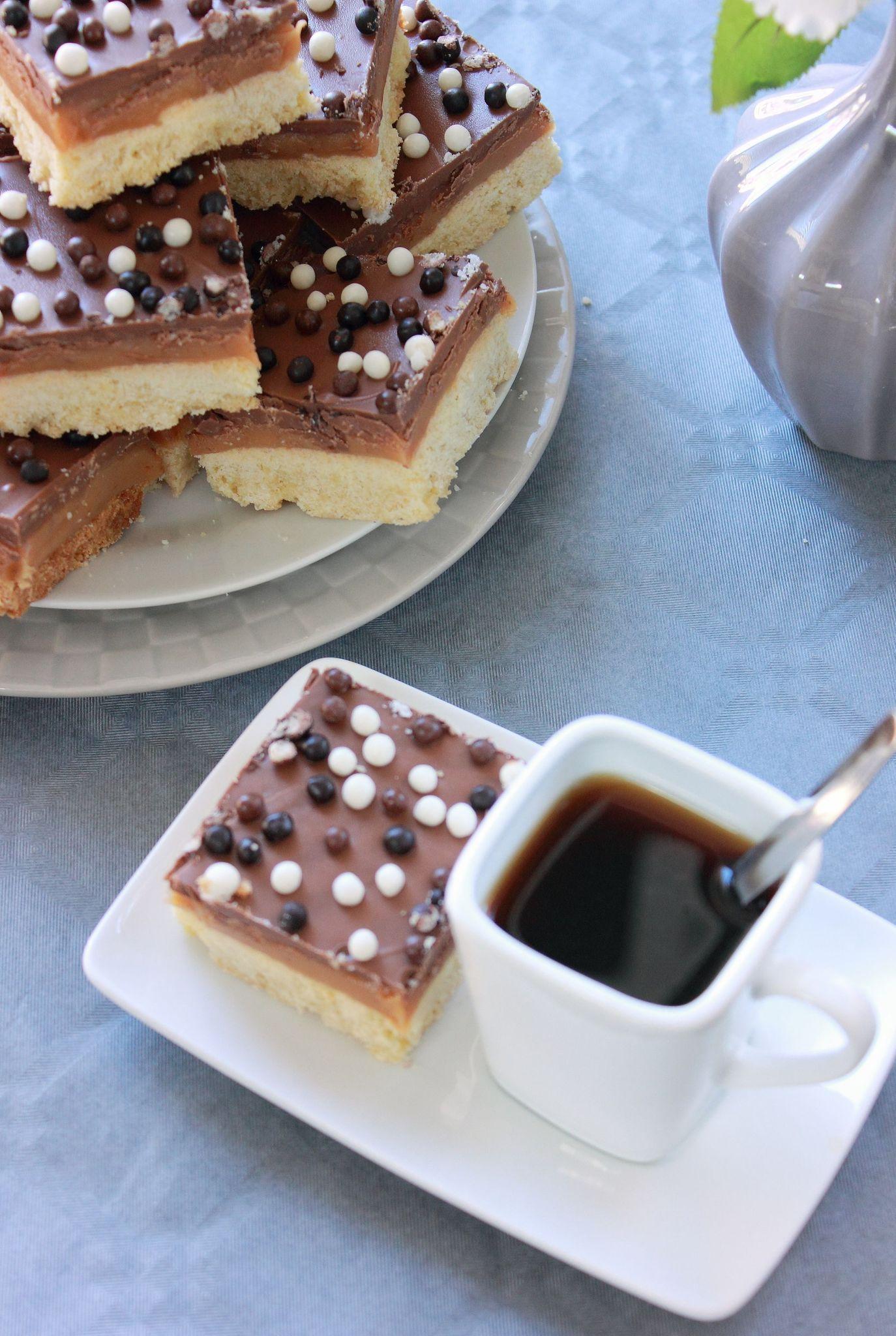 Carrés Caramel beurre salé, chocolat ( Shortbread ...