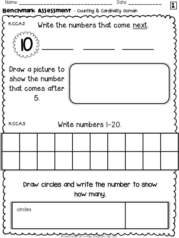 Kindergarten Common Core MATH Assessment Pack - ALL STANDARDS ...