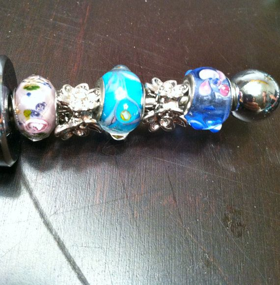 Pink and Blue Jeweled Wine Stopper by KRsKreations on Etsy, $18.00