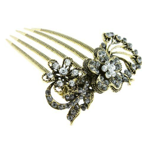 Fancy Rhinestone Flower Style Fashion Jewelry Hair Comb - Approx. 3'' Length Accessories - Hair-Combs. $12.95