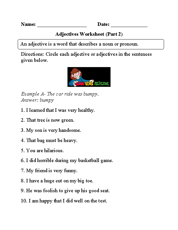 Circling Adjectives Worksheet Part 2   Adjective worksheet ...