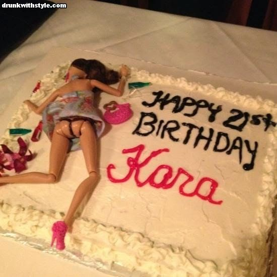 Happy 21st Birthday Drunk Barbie Cake