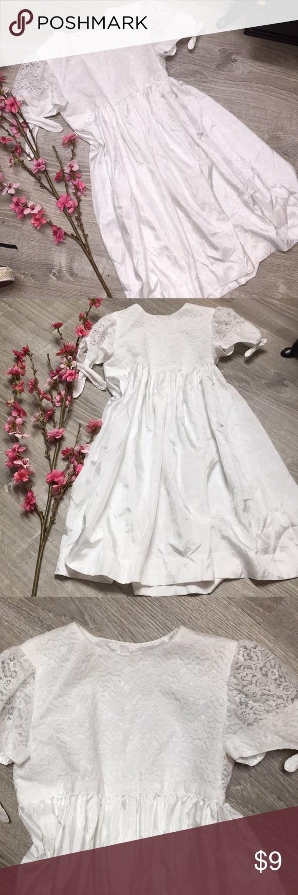 Girls Lace And Satin White Dress 4t White Dress Pretty Little Girls Dresses [ 1740 x 580 Pixel ]