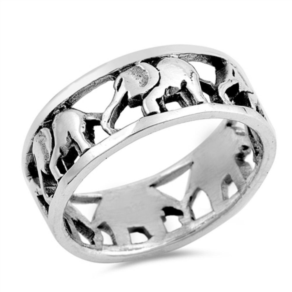 ring engagement rings in sterling silver elephant