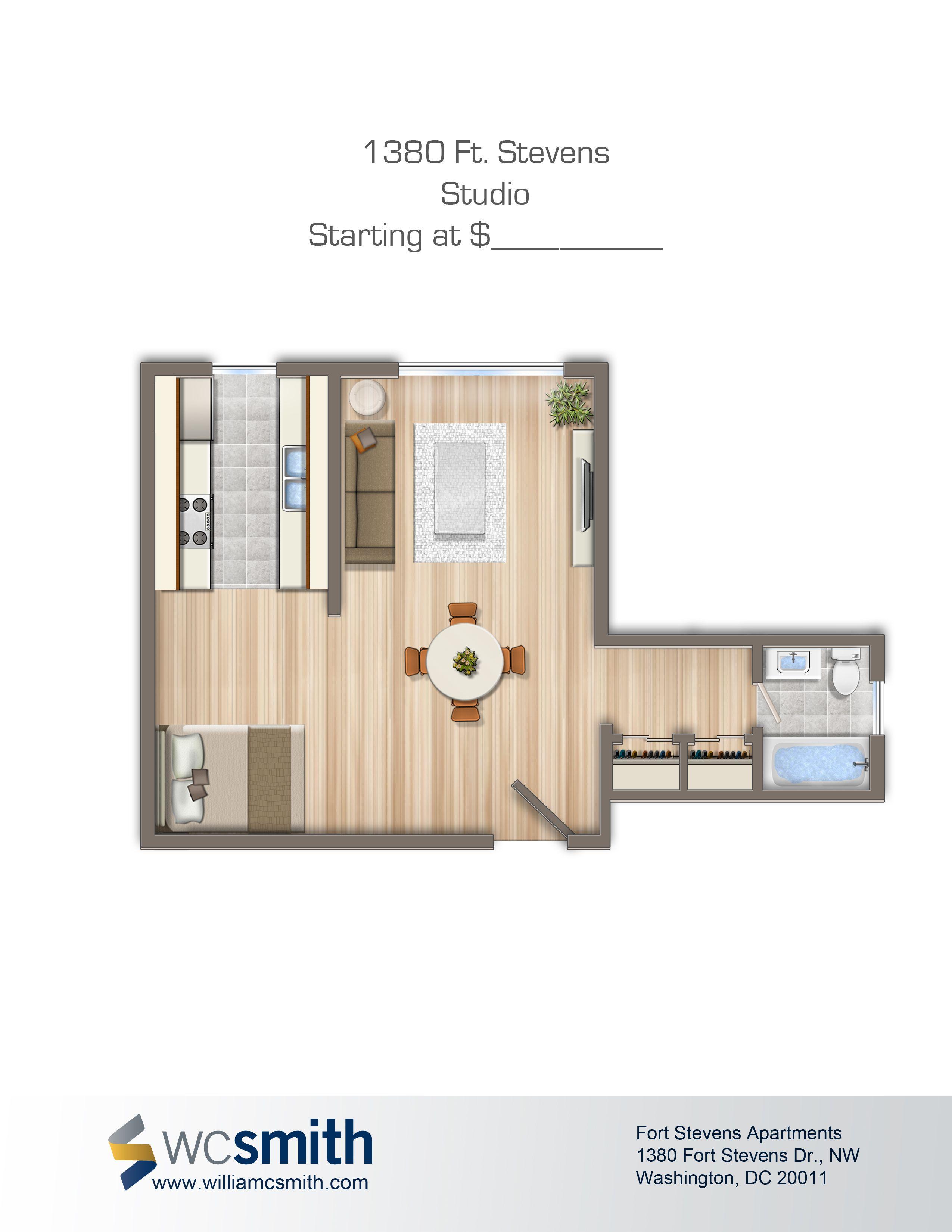 Studio Efficiency Floor Plan 1380 Ft Stevens Apartments In Northwest Washington Dc Wc Smith Apartments Dc Apartments Washington Dc Apartment Apartment
